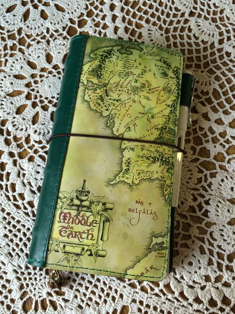 Middle Earth Map travelers notebook planner by Paperflower Design Studio.